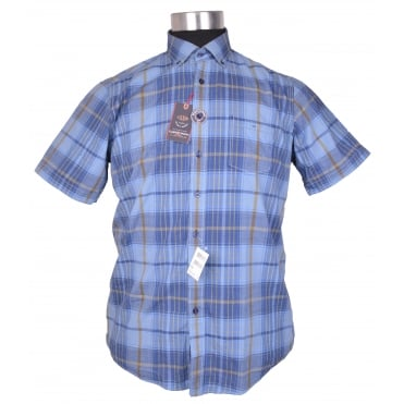 Casa Moda Short Sleeve Casual Check Shirt