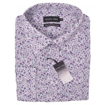 Double Two Floral Print Pure Cotton Formal Shirt