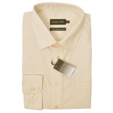 Double Two Plain Long Sleeve Formal Shirt