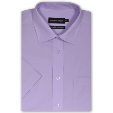 Double Two Short Sleeve Plain Formal Shirt
