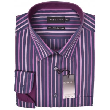 Double Two Stripe Cotton Rich Formal Shirt