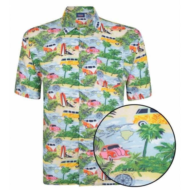 Clothing|Shirt Espionage Classic Car And Surf Print Short Sleeve Shirt