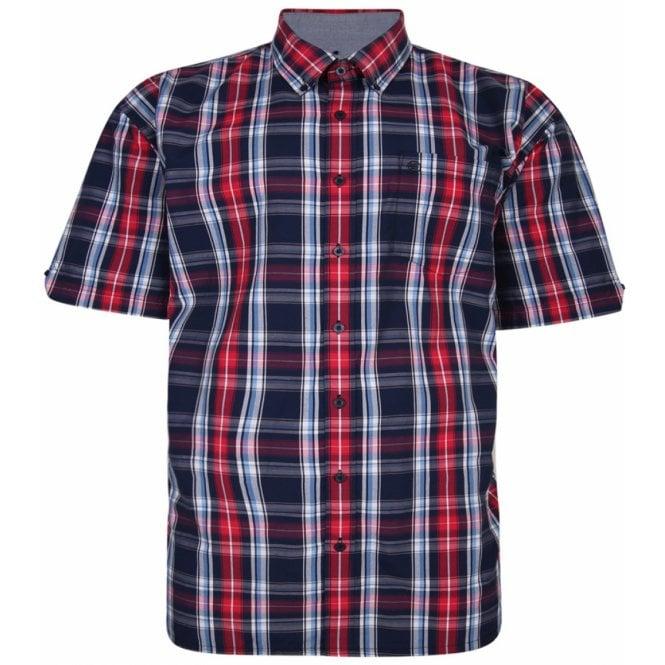 Clothing Shirt Espionage Mens Big Size Casual Button Down Cotton Big Check Short Sleeve Shirt