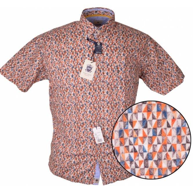 Clothing Shirt Hatico Mens Big Size Geometric Pattern Print Casual Short Sleeve Shirt