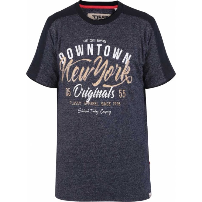 Clothing T-Shirts Mens Big Size Duke - D555 New York Printed Fine Stripe T-Shirt With Sleeve And Shoulder Panel