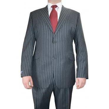 Mens Large Hugo James Chalk Stripe Suit
