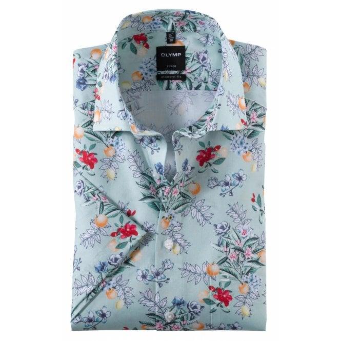Clothing|Shirt Olymp Flower Print Summer Short Sleeve Casual Shirt